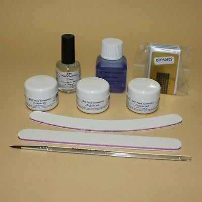 ENC Acryl Starterset Set inkl Liquid, 3 x Acrylpulver, Nagelschablonen, Primer