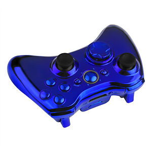 Wireless Controller Full Shell Case Kit for XBox 360 Tuning Mod Chrome Blue