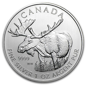 2012-1-oz-Silver-Canadian-Moose-Coin-Wildlife-Series