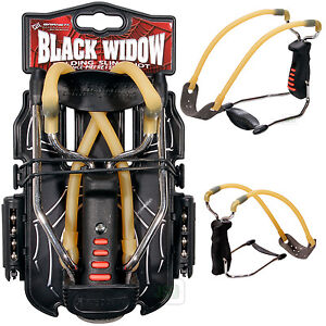 NEW-MODEL-Barnett-BLACK-WIDOW-Folding-Slingshot-Catapult-FREE-Steel-38-Ammo