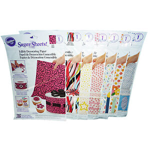 7pk Wilton Edible Sugar Sheets Cake Decorating Paper Scrolls,Stars,Dots,Floral++