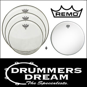 Remo Emperor Clear Drum Heads Pack 10