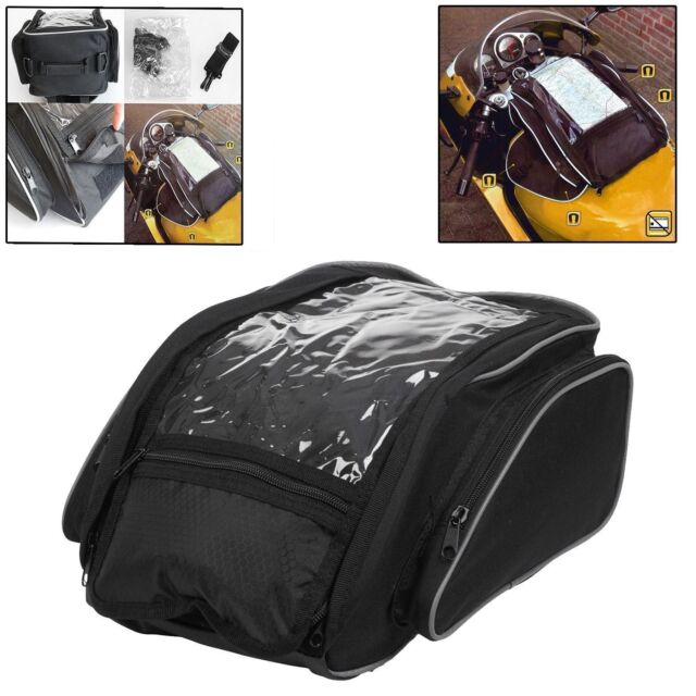 LARGE MAGNETIC MOTORCYCLE TANK BAG WITH MAP WINDOW LUGGAGE PANNIER STRAP