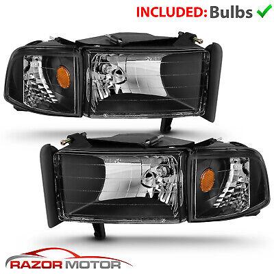 1994-2001 Dodge Ram 1500 2500 3500 Black Replacement Headlights Corner Signal