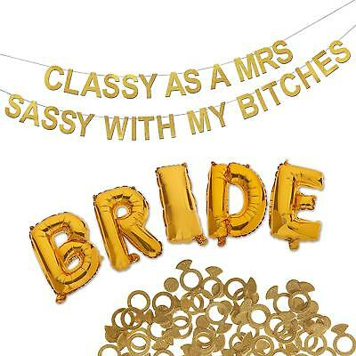 Bachelorette Party Decorations Bridal Shower Kit 3 Piece Gold Classy Shimmering - Classy Bachelorette Party Decorations
