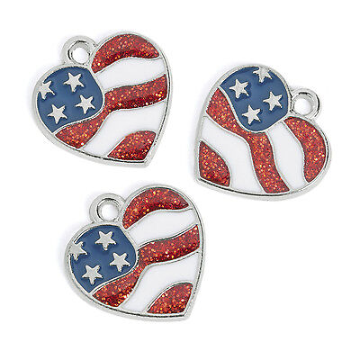 12 METAL heart charms PATRIOTIC FLAG 4TH OF JULY red white blue stars stripes ()