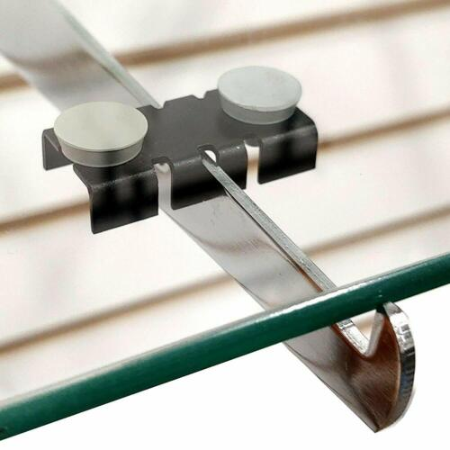 Black Center Shelf Rest Clips & Rubber Cushions to Hang Glass Wood Metal Shelves