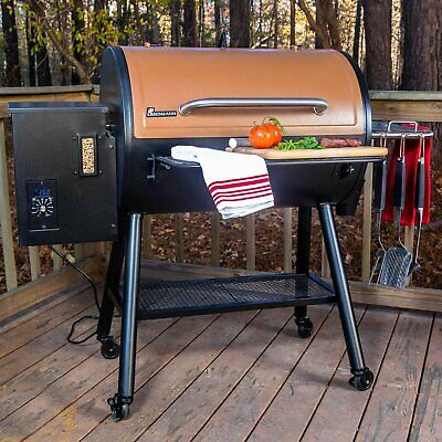 Landmann Large Wood Pellet Grill & Smoker Rolling BBQ Electric Ignition