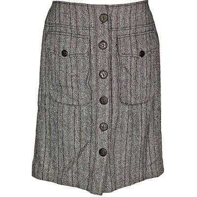 Magaschoni Wool Silk Blend Tweed Herringbone Straight Skirt, Pockets, Sz 10 Herringbone Silk Skirt