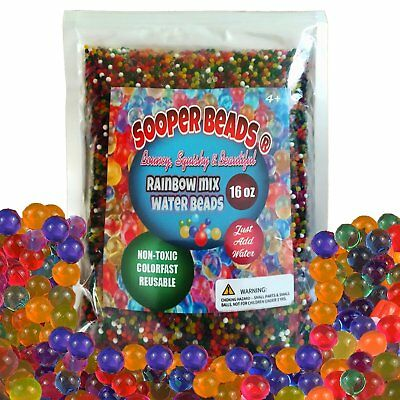 SooperBeads Water Beads Rainbow Mix, 16 oz (45,000 beads) for Orbeez Spa Refill