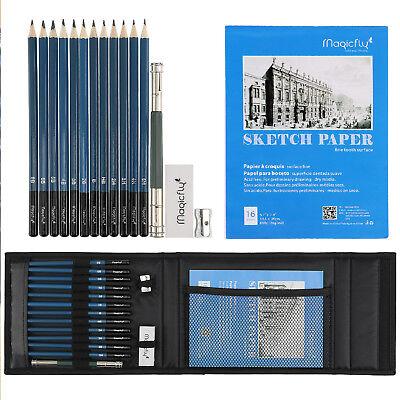 17pcs Professional Drawing Artist Kit Set Pencils and Sketch Charcoal Art & Bag