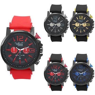 Milano Expressions Men Analog Luxury Designer Wrist Watch Silicone Sport Strap  - Luxury Designer Silicone