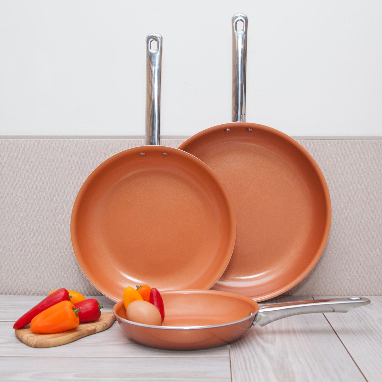 3 Pack Healthy Ceramic Frying Pan Set - Nonstick Ceramic Cop