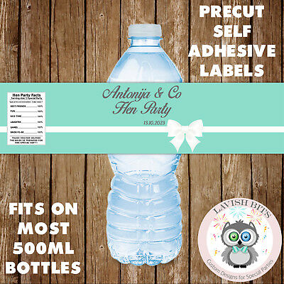 Tiffany And Co Party Favors (PERSONALISED HEN PARTY TEAL BLUE TIFFANY Co WATER BOTTLE LABELS PARTY)