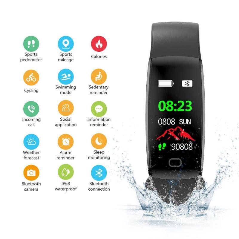 OLED Bluetooth Magnetverschluss Smart Watch Pulsuhr Armband Fitness Uhr F64HR