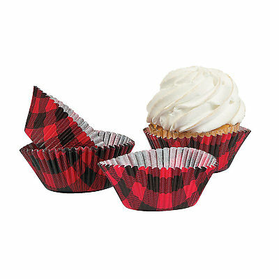 100 Christmas BUFFALO PLAID Print Red Black Paper Cupcake Baking Liners