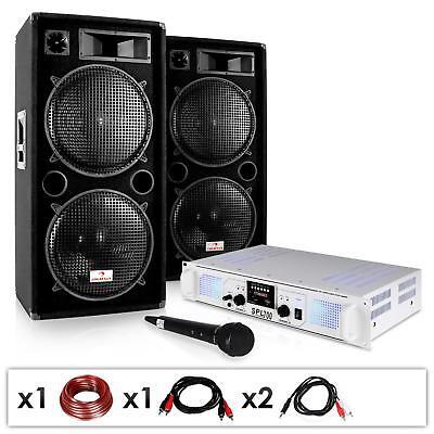 Paar PA Lautsprecher mit Verstärker, Mikrofon und Kabelsatz für Karaoke Partys