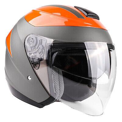 Orange 3/4 Open Face Helmet Motorcycle Moped Scooter Dual Visor DOT ()