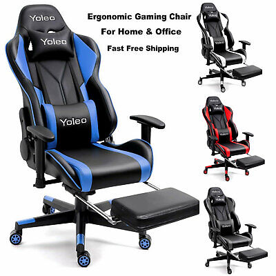 Gaming Chair With Footrest High Back Office Chair Racing Computer Swivel Chair