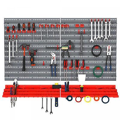 54pc Wall Mounted Garage Workshop Tool Organiserstorage Panel Rack Kit Whooks
