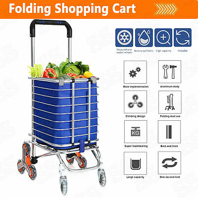 Stair Climbing Cart Grocery Carts Folding Shopping Cart W Rolling Swivel Wheels