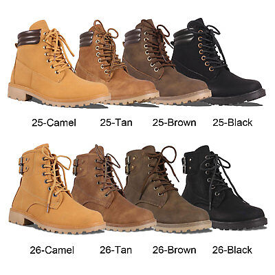 - Women's Military Lace Up Ankle Combat Hiking Boots Low Block Heel Work Shoes