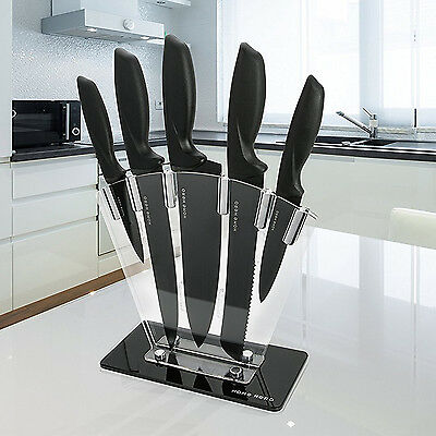 Kitchenette Knife Block Set 5 Piece Stainless Knives with Sharpener & Finger Guard