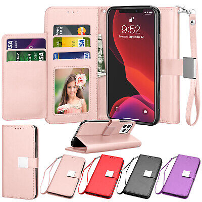 For iPhone 11,Pro Max Flip Leather Wallet Case Magnetic Cover with Card Holder