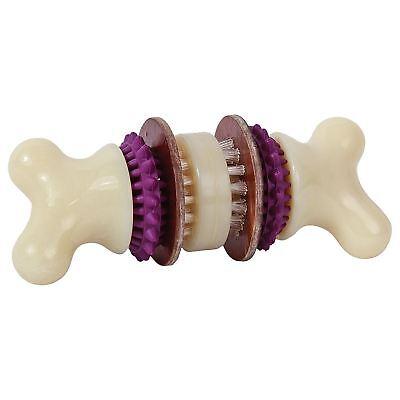 PetSafe Busy Buddy Bristle Bone Rubber Dog Chew Treat Toy Rawhide Snack - Medium