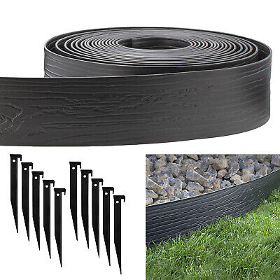Black 4-in. x 40-ft. Landscape Lawn Edging Coil Kit with 10 Pack of Stakes Edging & Borders