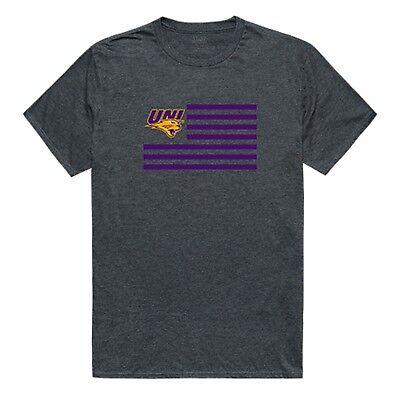 University of Northern Iowa Panthers NCAA Logo USA Flag T-Shirt S-2XL ()