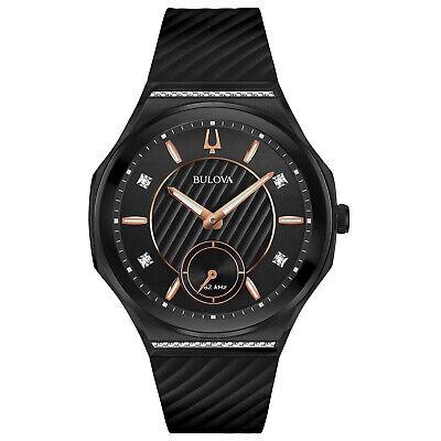 Bulova CURV Women's Quartz Diamond Accent Exhibition Case Back 40mm Watch 98R240