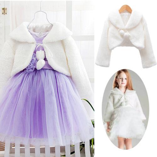 Girls Kids Faux Fur Jacket Wrap Shrug Bolero Coat Cape Bridesmaid Wedding Party
