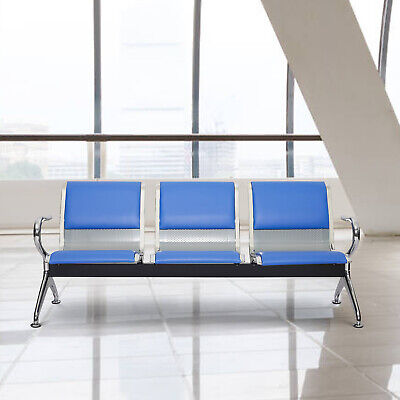 3 Seat Heavy Pu Leather Waiting Chairs Office Bench Bank Airport Reception Blue