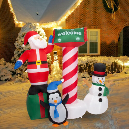 5.2Ft Christmas Decorations Outdoor Inflatable Airblown Santa Clause Snowman