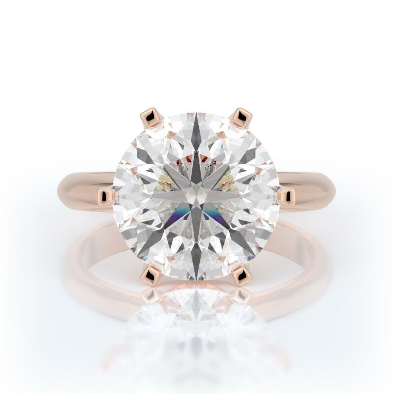 5 Carats D Vvs2 Round  Diamond Solitaire Engagement Ring 14k Rose Gold