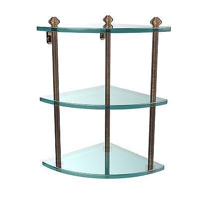 - Allied Brass SB-6-SCH Double Corner Glass Shelf Polished Brass