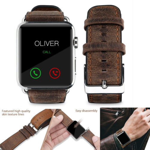 Pasbuy 57b Genuine Leather Band For Apple Watch Series 4 3 2 1 42/44mm Brown