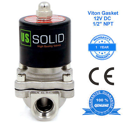 U. S. Solid 12 Stainless Steel Electric Solenoid Valve 12v Dc Normally Closed