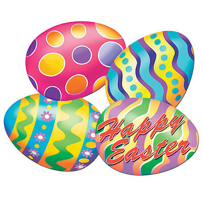 4 pc Cardboard Cutout EASTER EGGS   Classroom Bulletin Board Party Decorations - Easter Bulletin Board