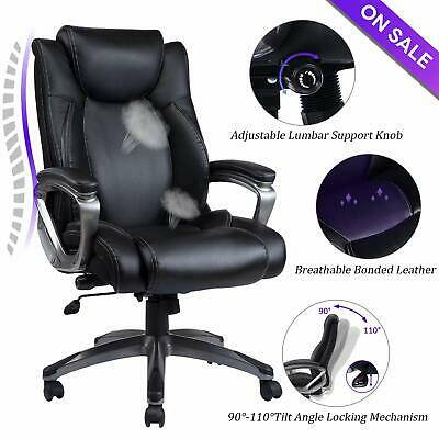 VANBOW Leather Memory Foam Office Chair Executive Home Computer Desk Chair,Black Black Leather Executive Chair