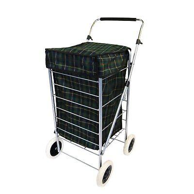 NEW! 4 Wheel Folding Shopping Mobility Trolley Bag Cart Market Laundry
