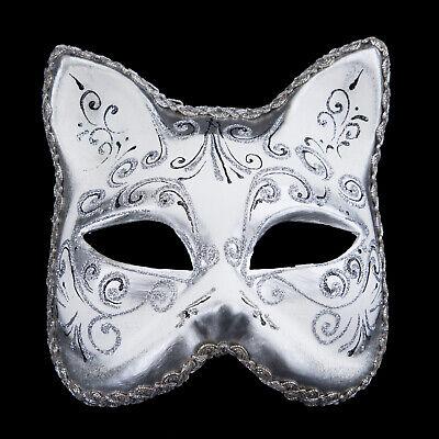 Mask from Venice Cat White Silver Luxury Gatto Musica Paper Mache 22521 V10