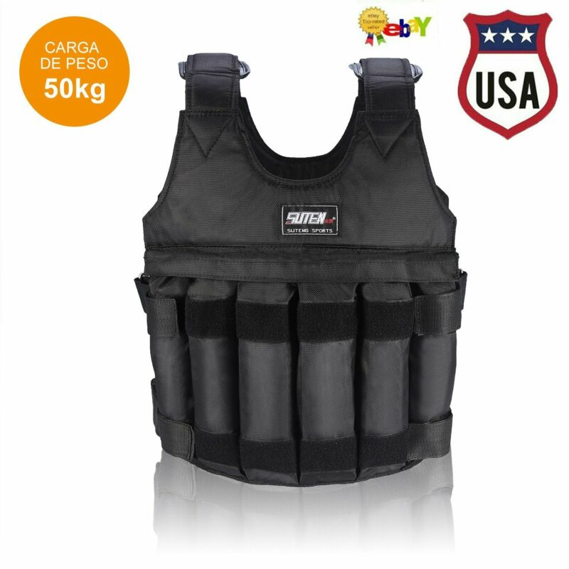 110LB Adjustable Workout Weighted Vest Exercise Strength Training Fitness 50KG L