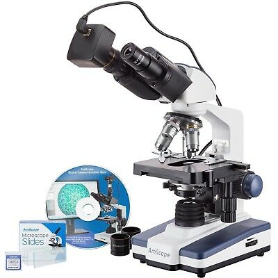 Amscope 40x-2500x Led Binocular Compound Microscope With 50pc Blank Slides And 3
