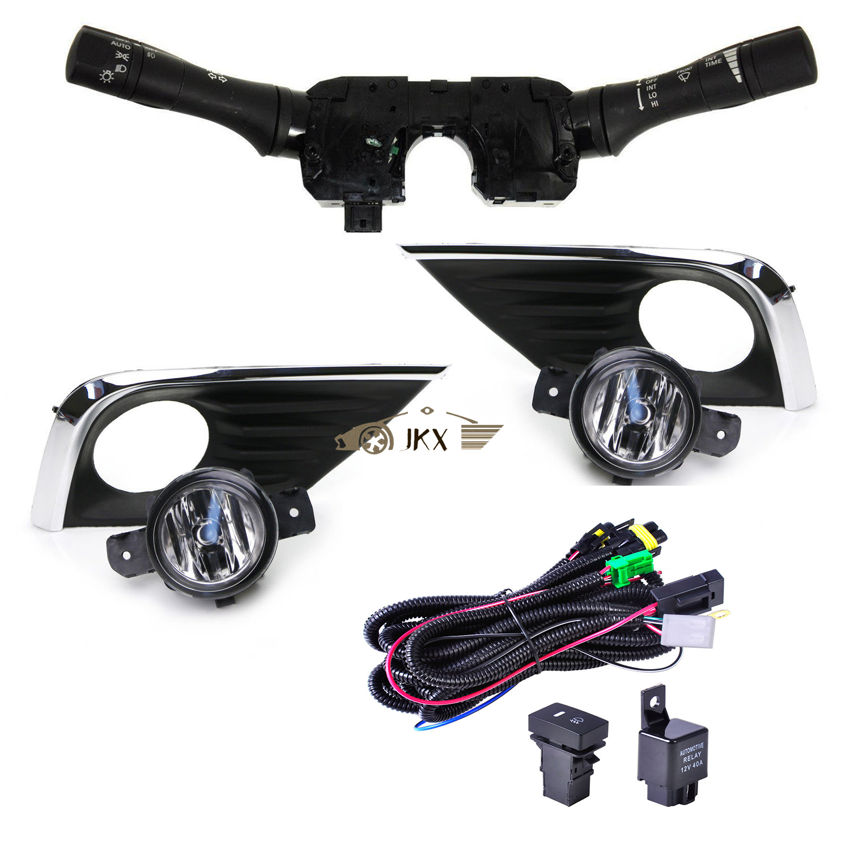 Set Clear Fog Light Bezel Covers Wirings Switch Kit For