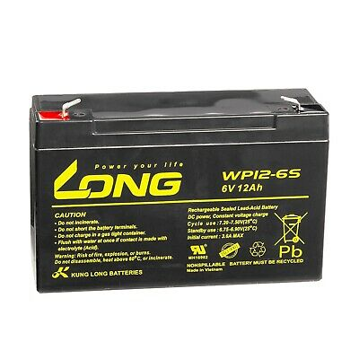 LONG Bleiakku WP12-6S 6V 12Ah VdS USV AGM GEL Blei Vlies Batterie
