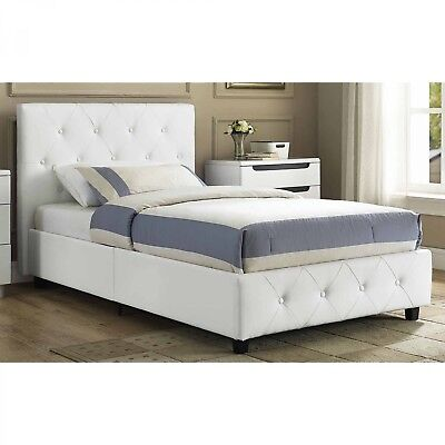Headboard Upholstered Bed Faux Leather White Tufted Twin Full Queen Size Bedroom