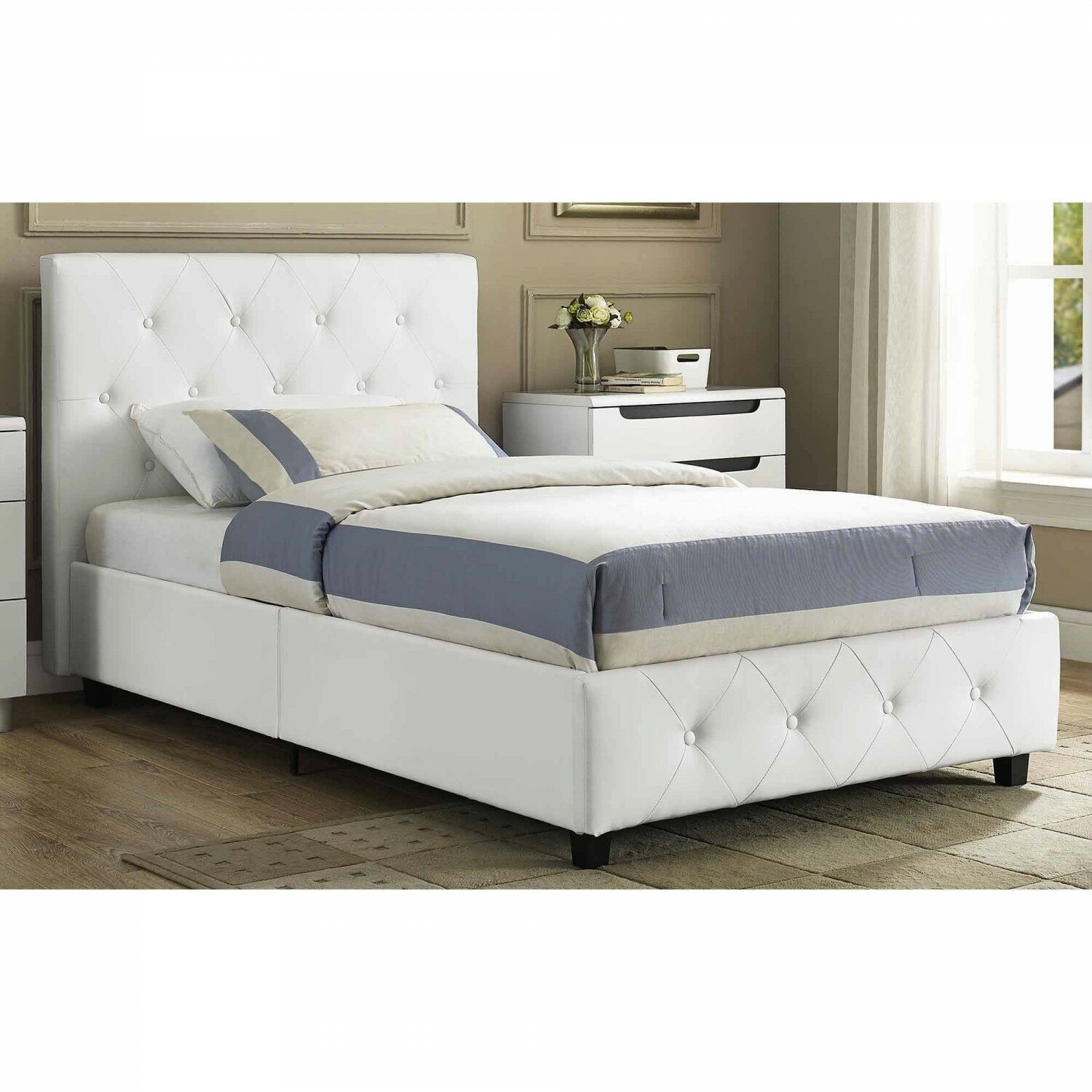 Headboard Upholstered Bed Faux Leather White Tufted Twin Ful