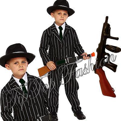 1920 Kinder Kostüme (1920s Jungen Kinder Gangster Gangsta Mafia Bugsy Malone Kostüm Kleid Outfit)